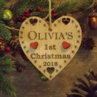 Babys First 1st Christmas Personalised Wooden Heart Decoration Gift